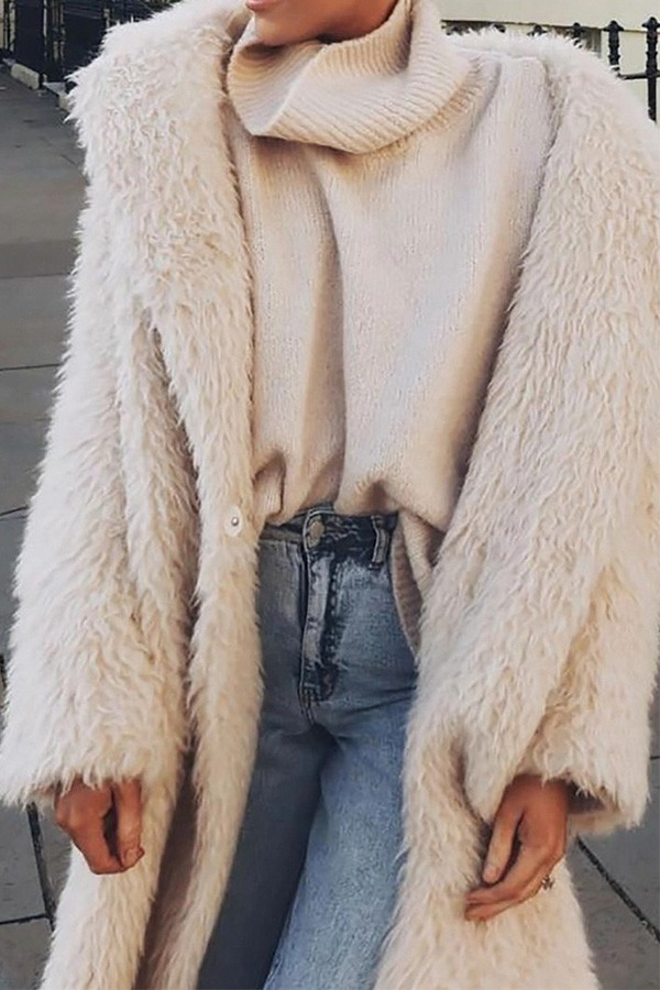 Women faux fur coat - orangeshine.com