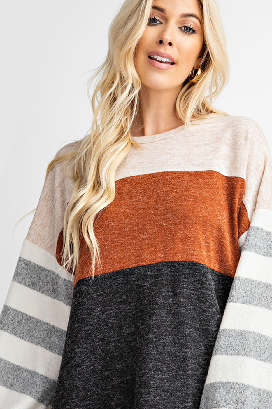 MELANGE TWO TONE HACCI STRIPE KNIT T - orangeshine.com
