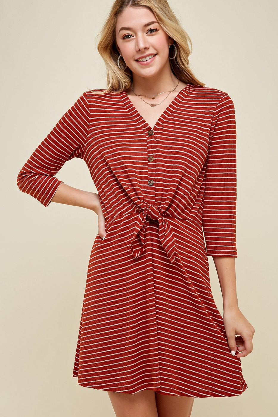 TIE FRONT BABYDOLL STRIPE DRESS WITH - orangeshine.com