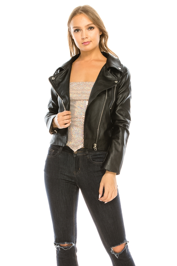 Fake Leather Bikers Jacket  - orangeshine.com