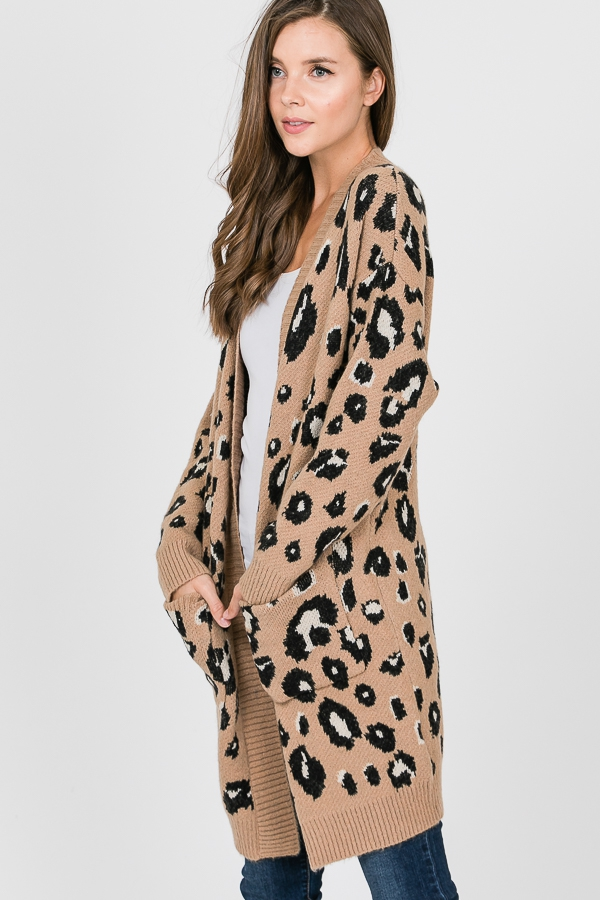 Leopard pockets sweater cardigan - orangeshine.com