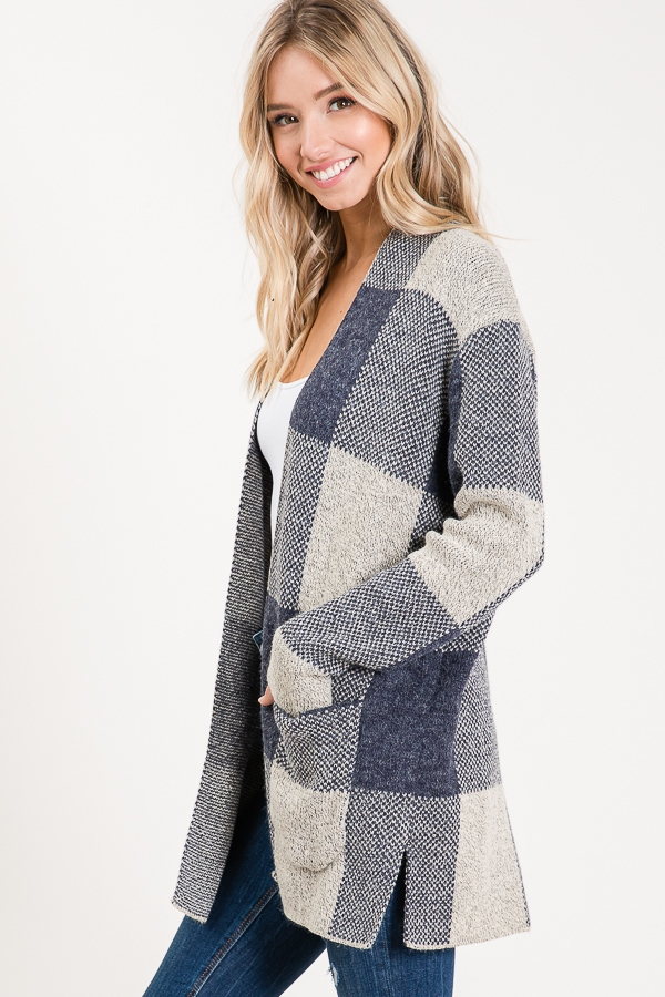 LONG SLEEVE BIG PLAID CARDIGAN - orangeshine.com