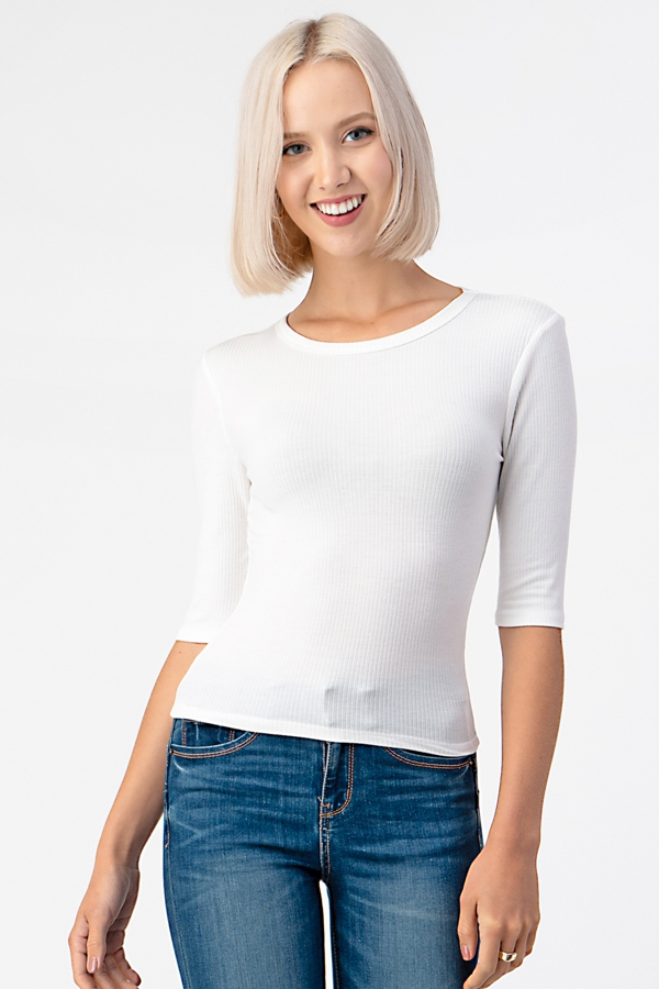 4X2 RIB CREWNECK ELBOW SLEEVE TOP - orangeshine.com