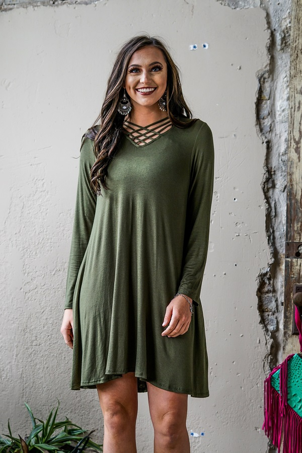 SOLID LONG SLEEVE DRESS - orangeshine.com