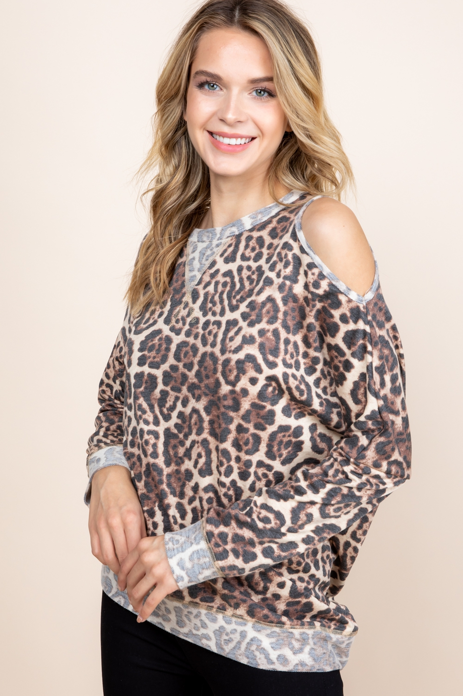 LEOPARD PRINTED ONE SIDE COLD SHOULD - orangeshine.com