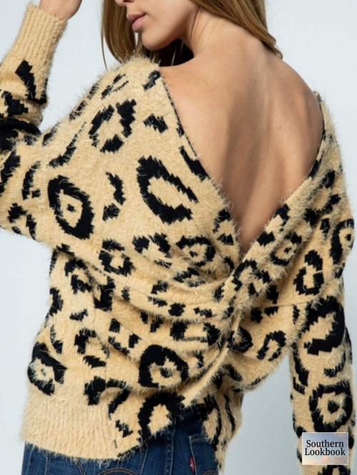 TWIST BACK DETAIL LEOPARD SWEATER - orangeshine.com