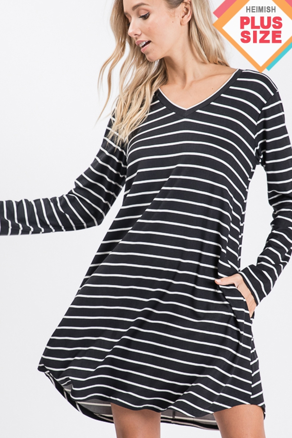 PLUS STRIPE DRESS WITH SIDE POCKET - orangeshine.com