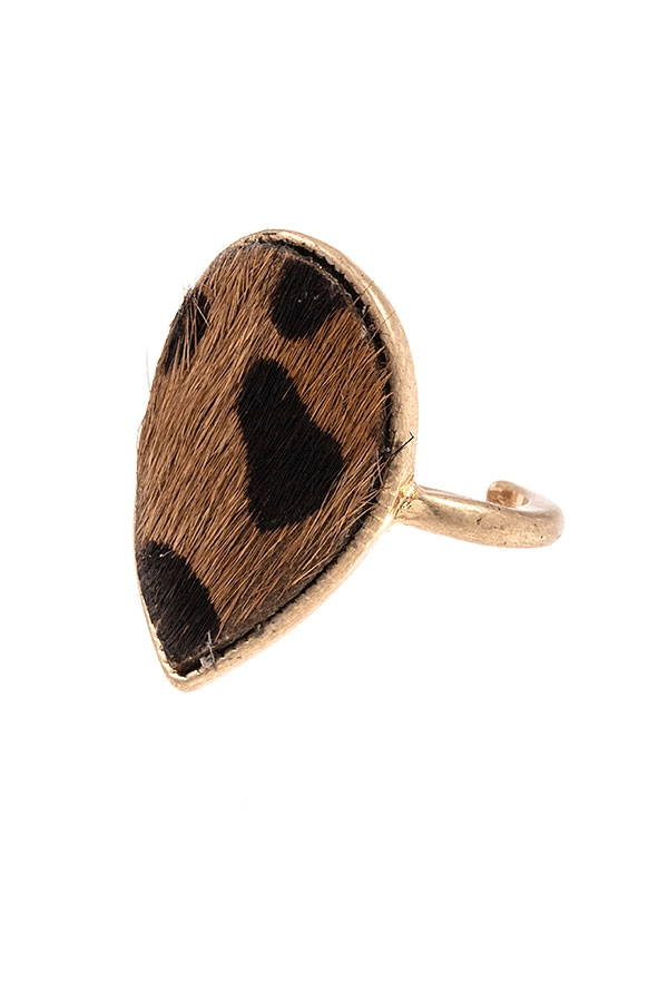 ANIMAL PRINT TEARDROP CUFF RING - orangeshine.com