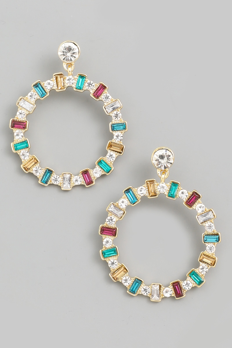 Crystal Baguette Circle Drop Earring - orangeshine.com