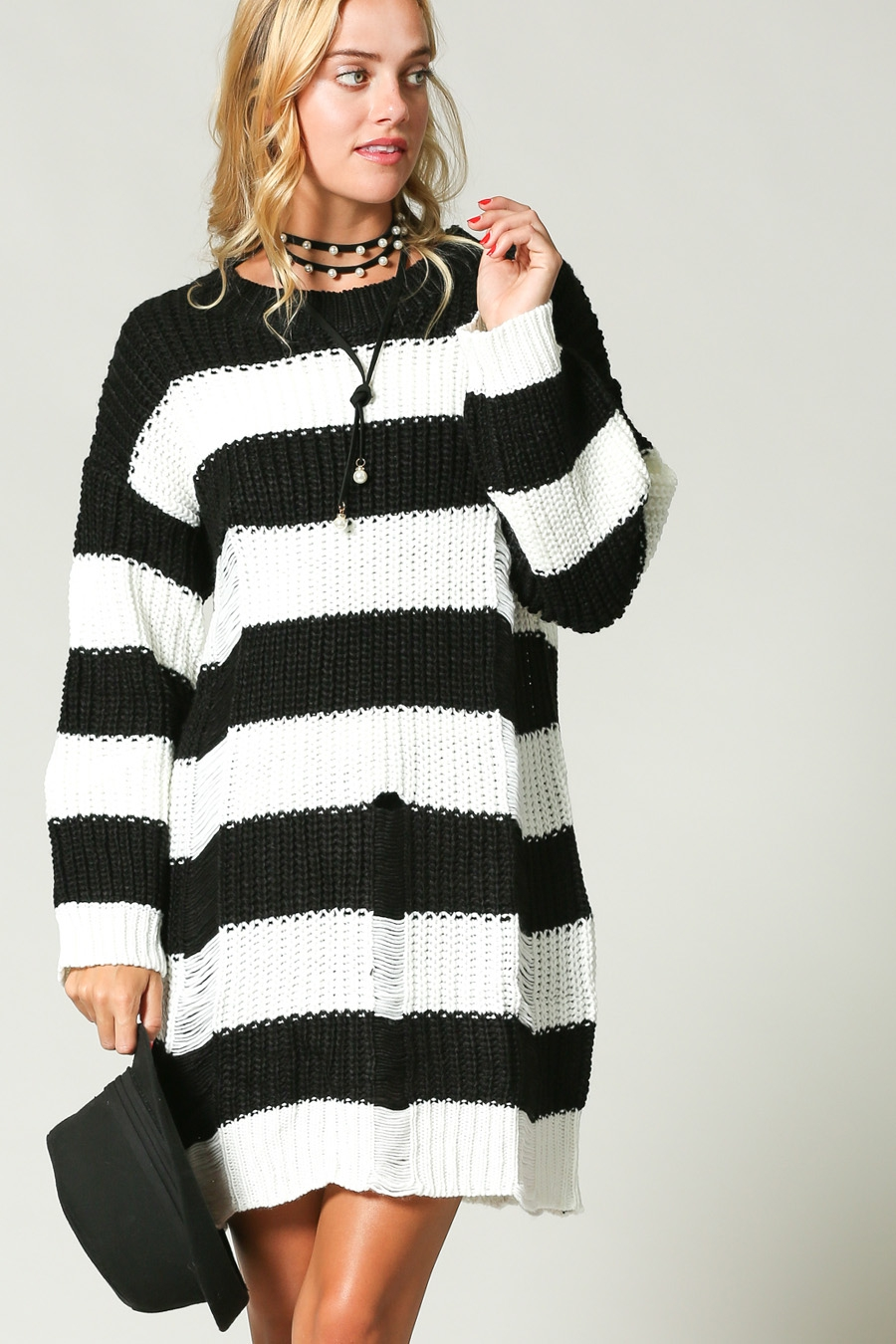 STRIPED LOOSE FIT SWEATER DRESS - orangeshine.com