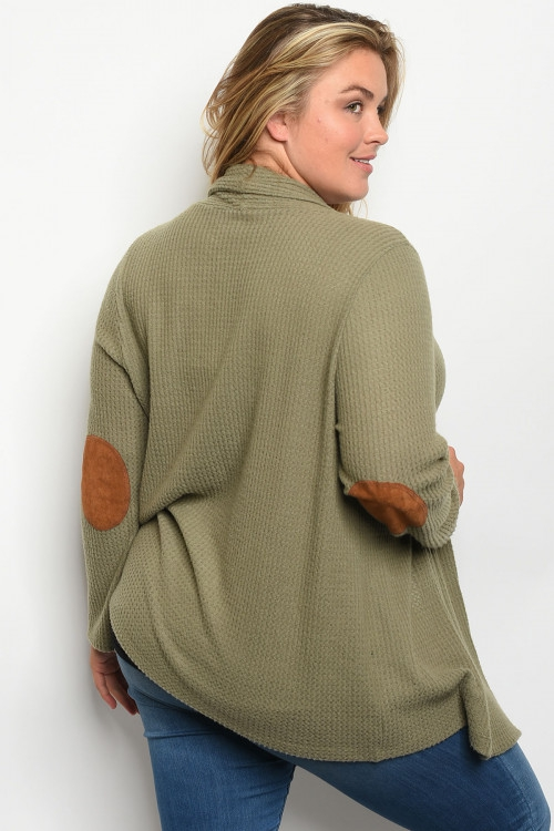 Plus long sleeve elbow patch cardiga - orangeshine.com