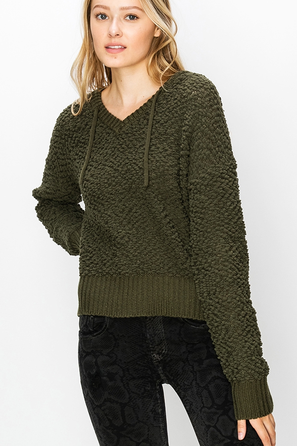 HOODED POPCORN KNIT SWEATER - orangeshine.com