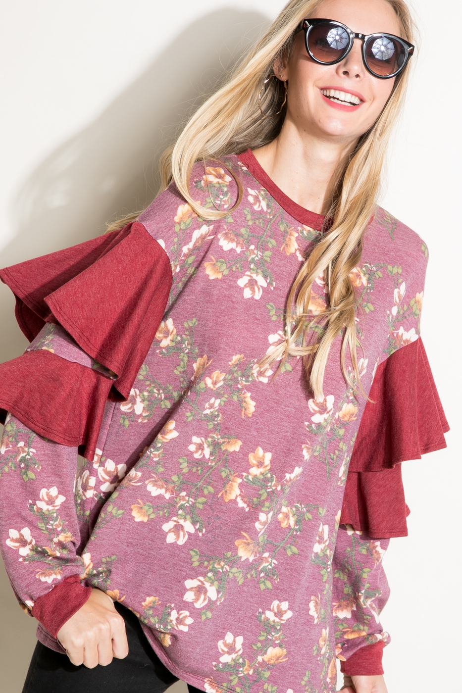FLORAL SOLID MIX RUFFLE SLEEVE TOP - orangeshine.com