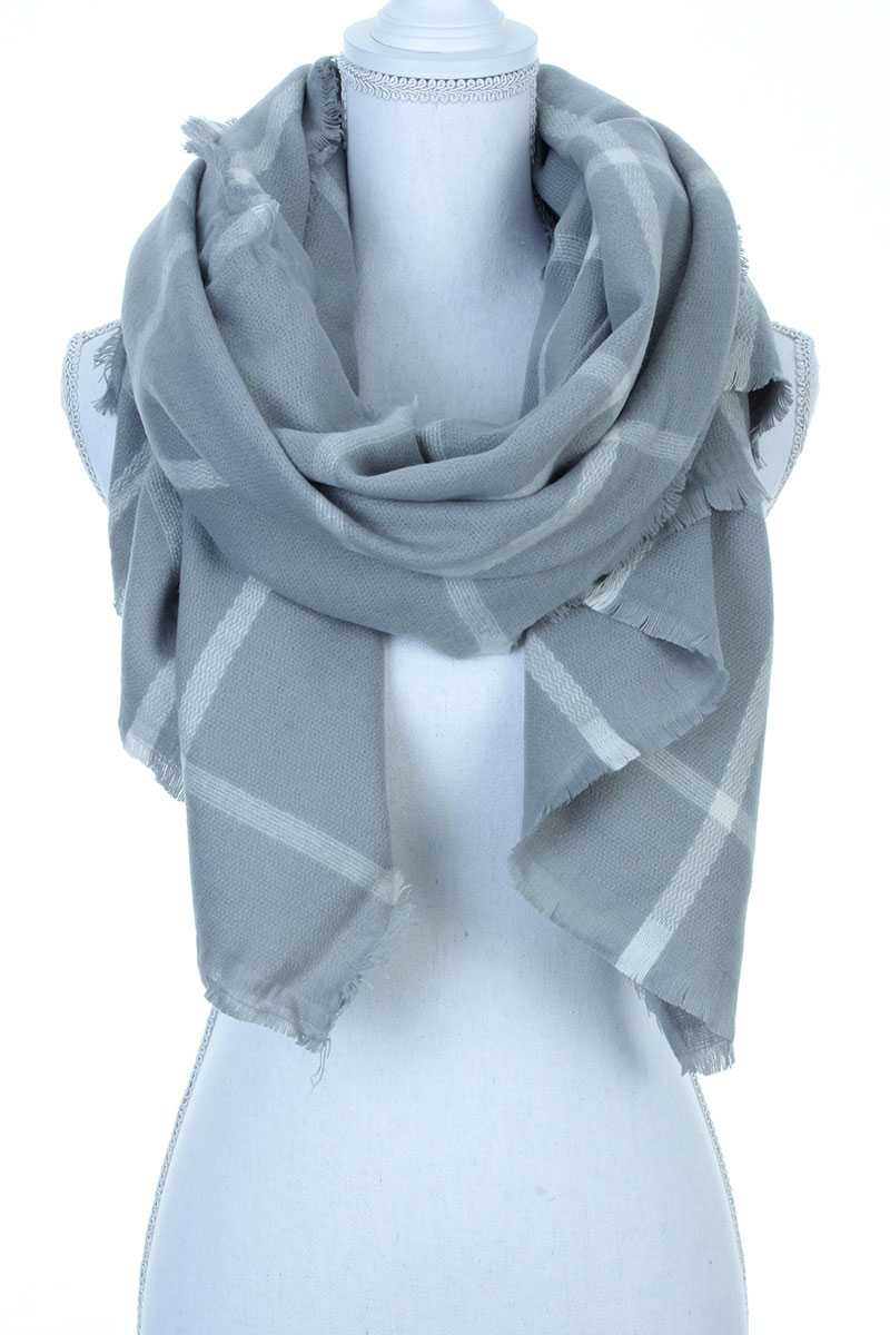 OVERSIZED STRIPED FRAY OBLONG SCARF - orangeshine.com