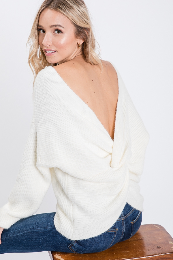 SOLID SWEATER WITH OPEN TWIST BACK D - orangeshine.com