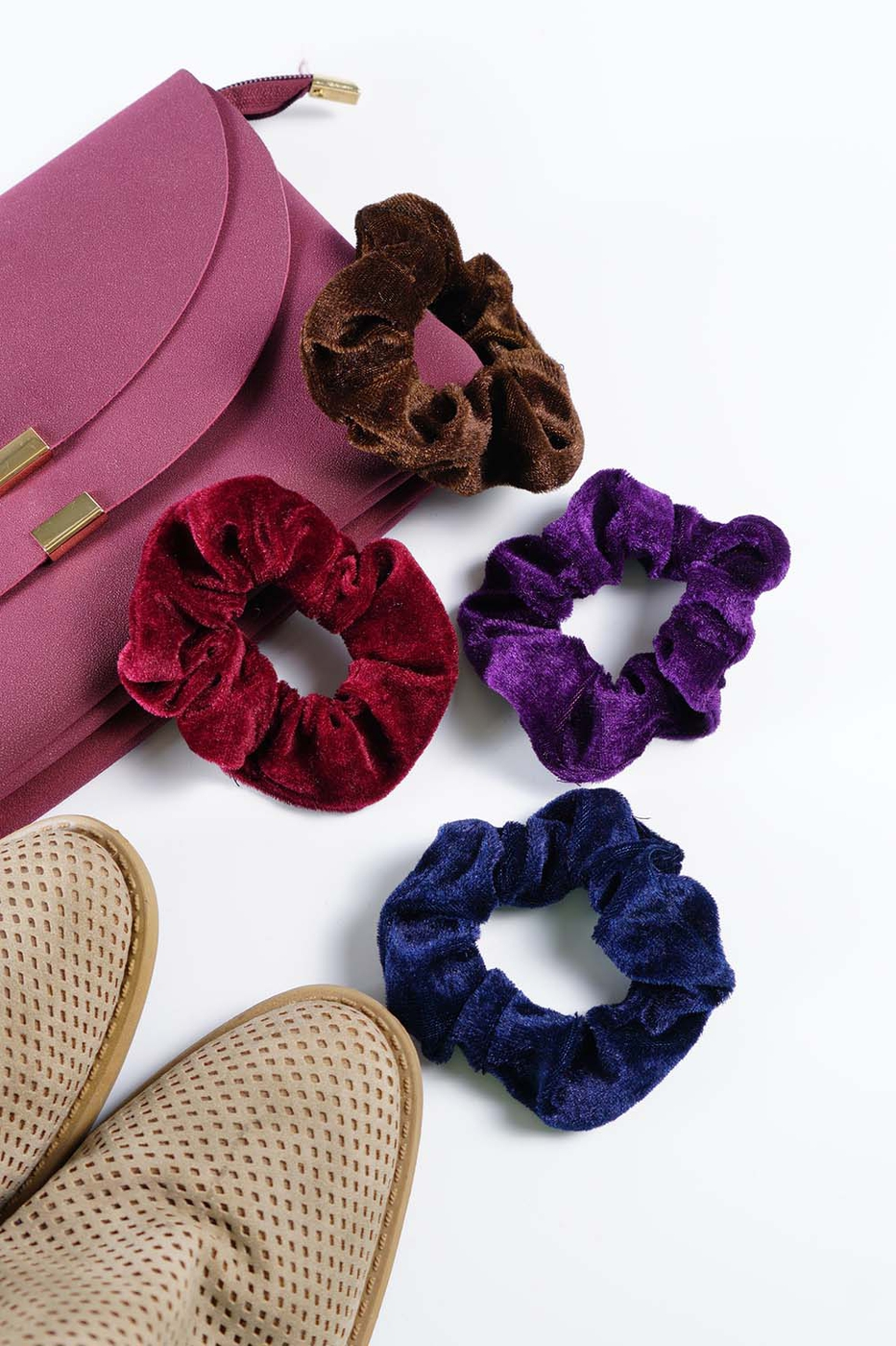 Velvet Fall Scrunchies - orangeshine.com