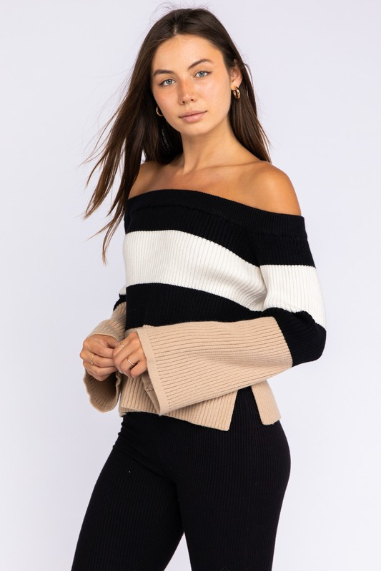 Off Shoulder Colorblock Stripe Sweater - orangeshine.com