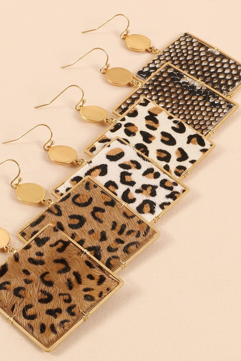 Leopard Print Calf Hair Earrings - orangeshine.com