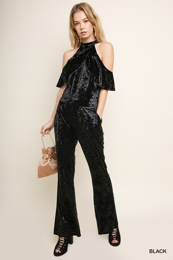 Layer Open Shoulder Velvet Jumpsuit  - orangeshine.com
