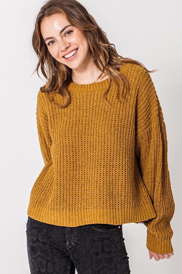 ROUND NECK LONG SLEEVE MATT CHENILLE - orangeshine.com