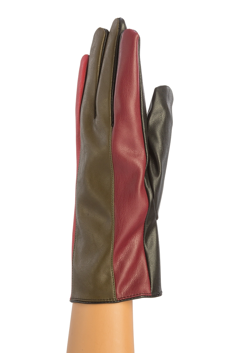 COLOR BLOCK FAUX LEATHER GLOVES - orangeshine.com