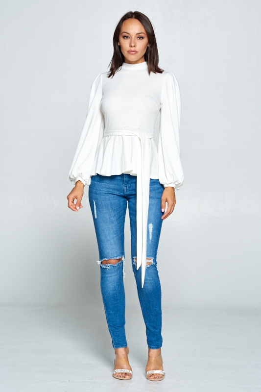 Long sleeve top with puffy sleeves - orangeshine.com