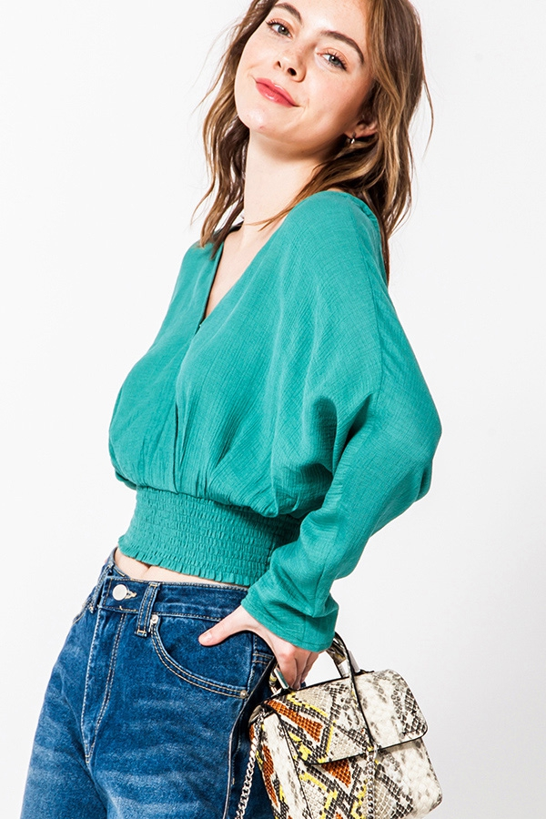 DOLMAN SLEEVE CROSSOVER BLOUSE - orangeshine.com