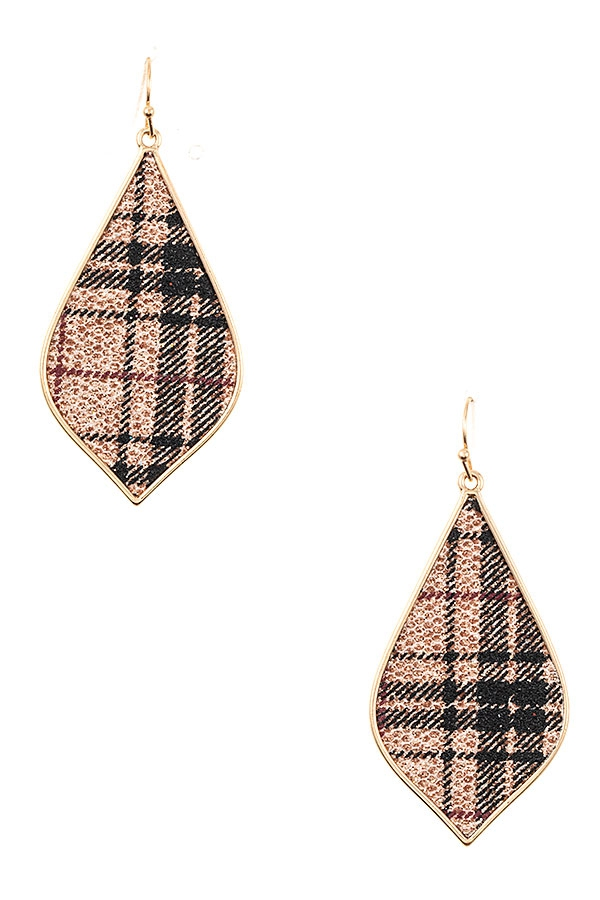 PLAID GLITTER ACCENT DROP EARRING - orangeshine.com