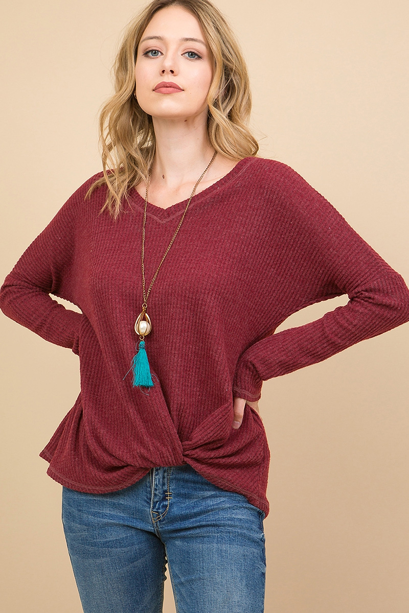 WAFFLE V-NECK LOOSE FIT TOP WITH FRO - orangeshine.com