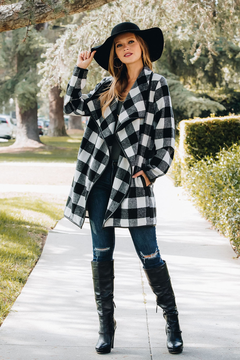 Buffalo Plaid Drape Front Jacket - orangeshine.com