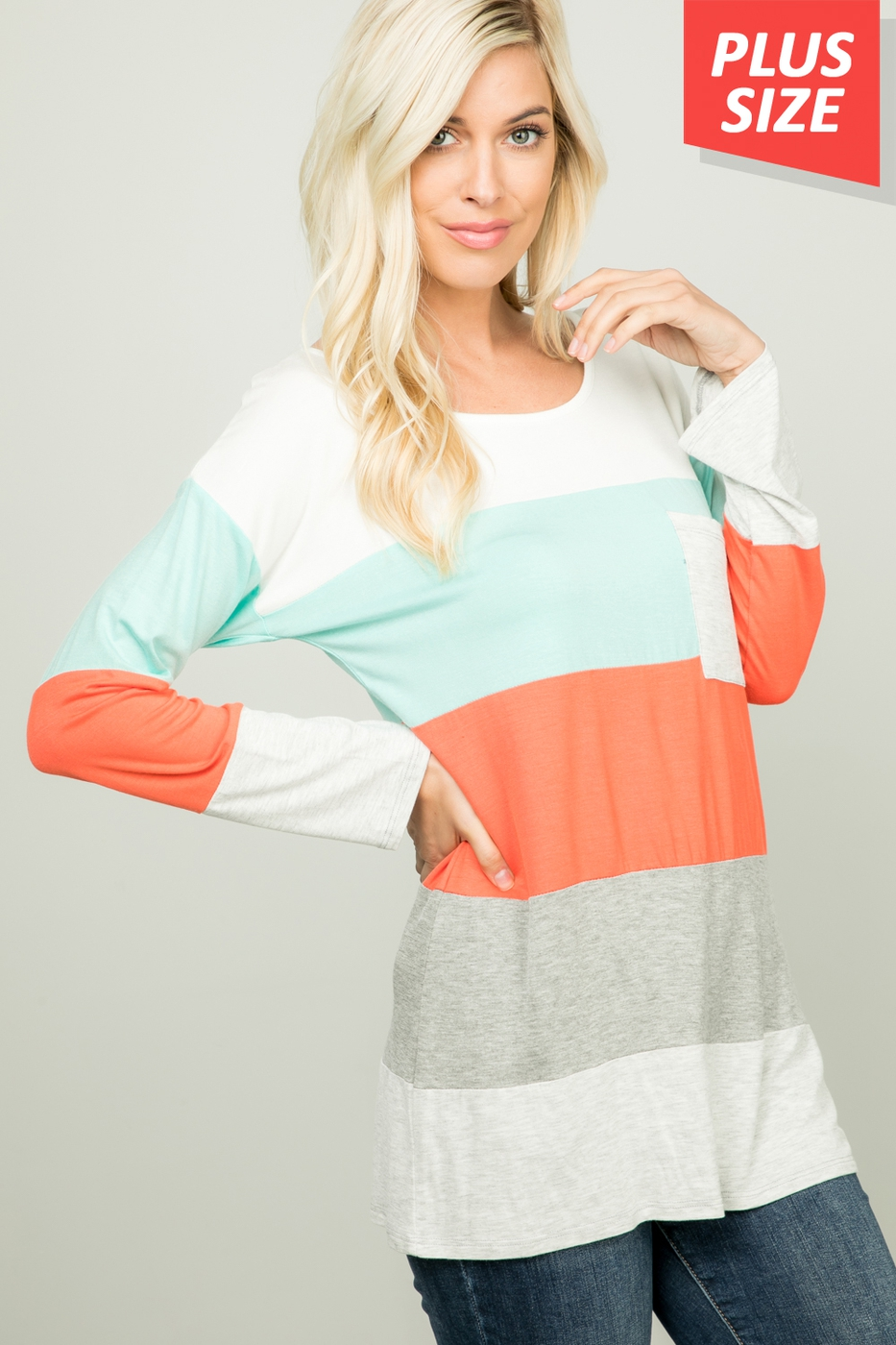 COLOR BLOCK TOP WITH FRONT POCKET - orangeshine.com