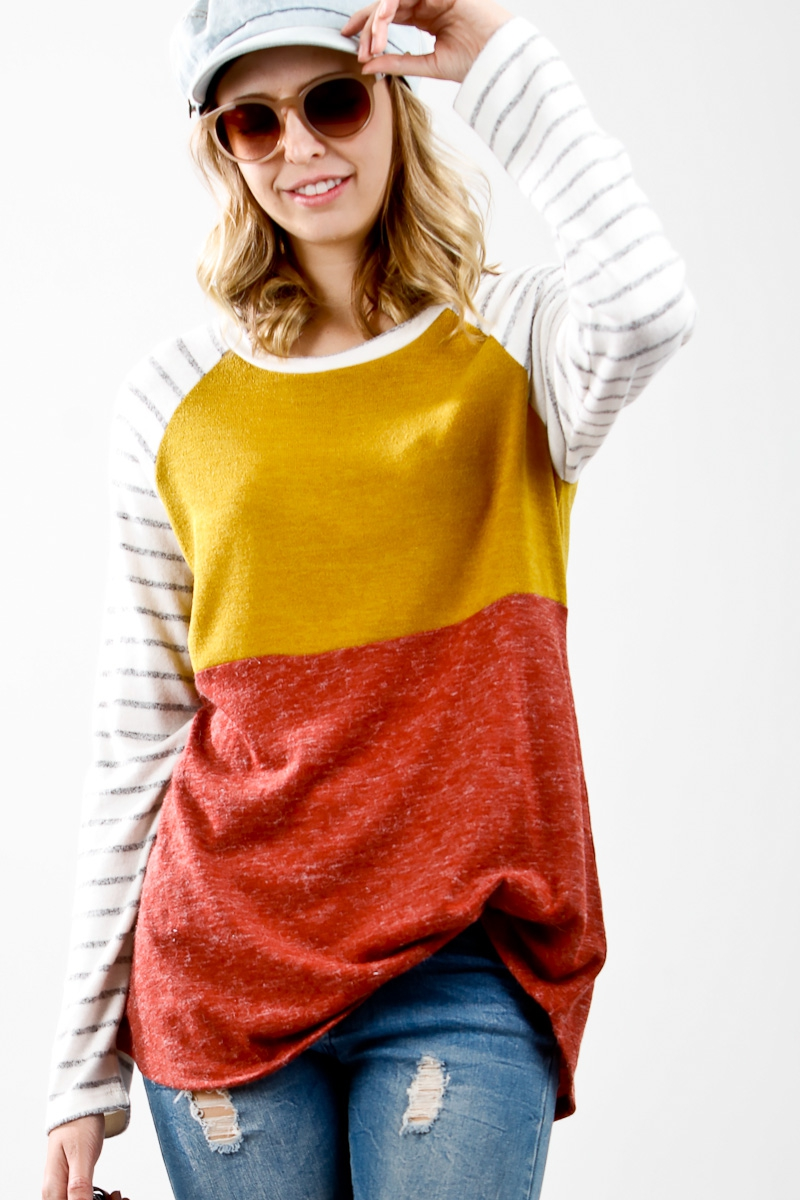 Long sleeve knit color block top wit - orangeshine.com