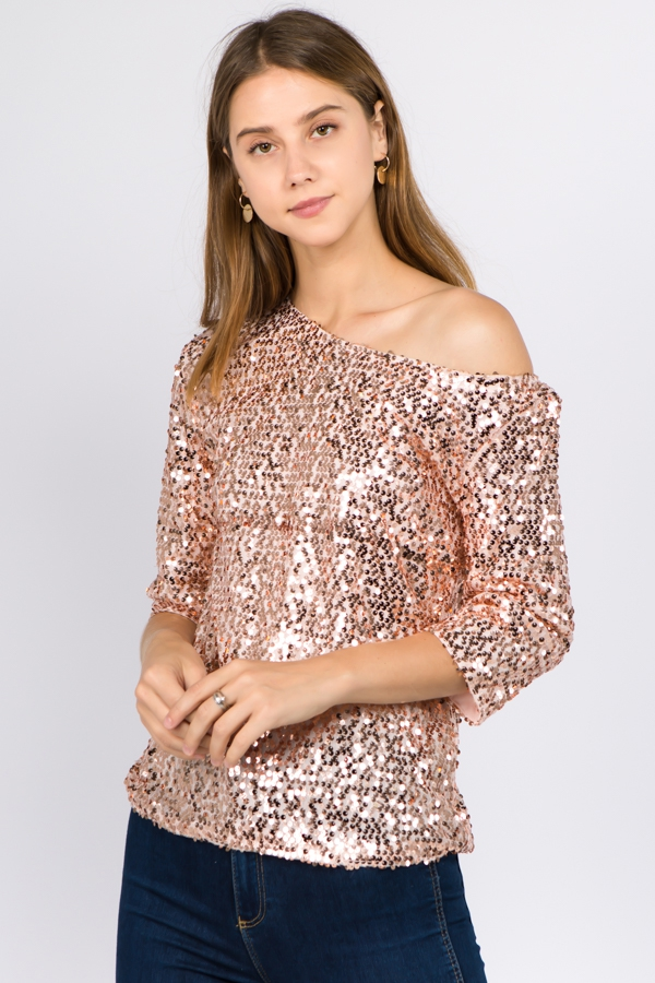 3/4 SLEEVE SEQUINS TOPS - orangeshine.com