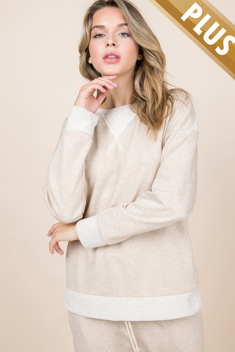 PLUS SIZE ROUND NECK LONG SLEEVE TOP - orangeshine.com