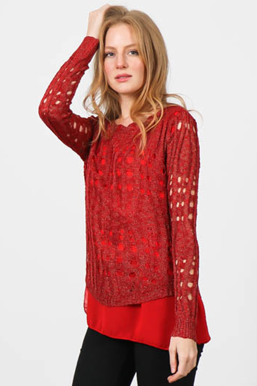 KNIT SWEATER HOLE TOP  - orangeshine.com