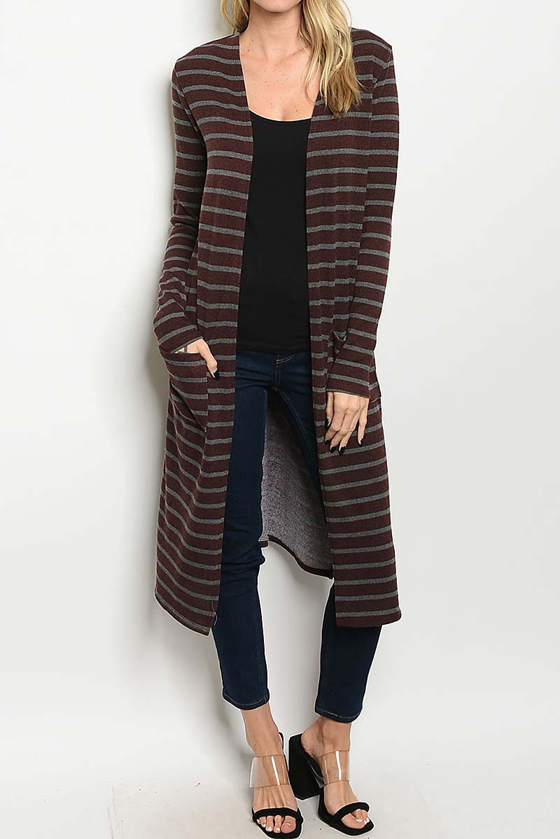 STRIPE POCKET DETAIL CARDIGAN  - orangeshine.com