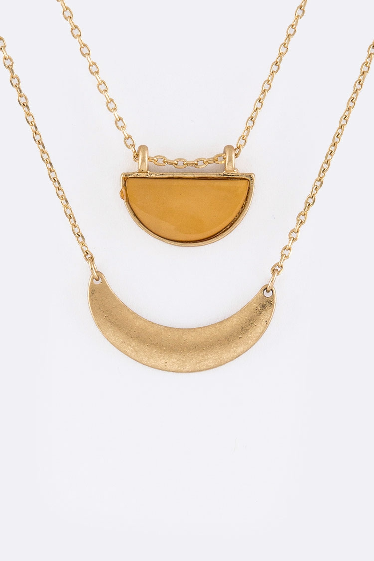 Crescent Charms Layer Necklace - orangeshine.com