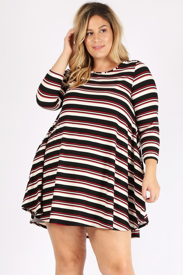 PLUS SIZE MULTI COLOR STRIPE PRINT D - orangeshine.com
