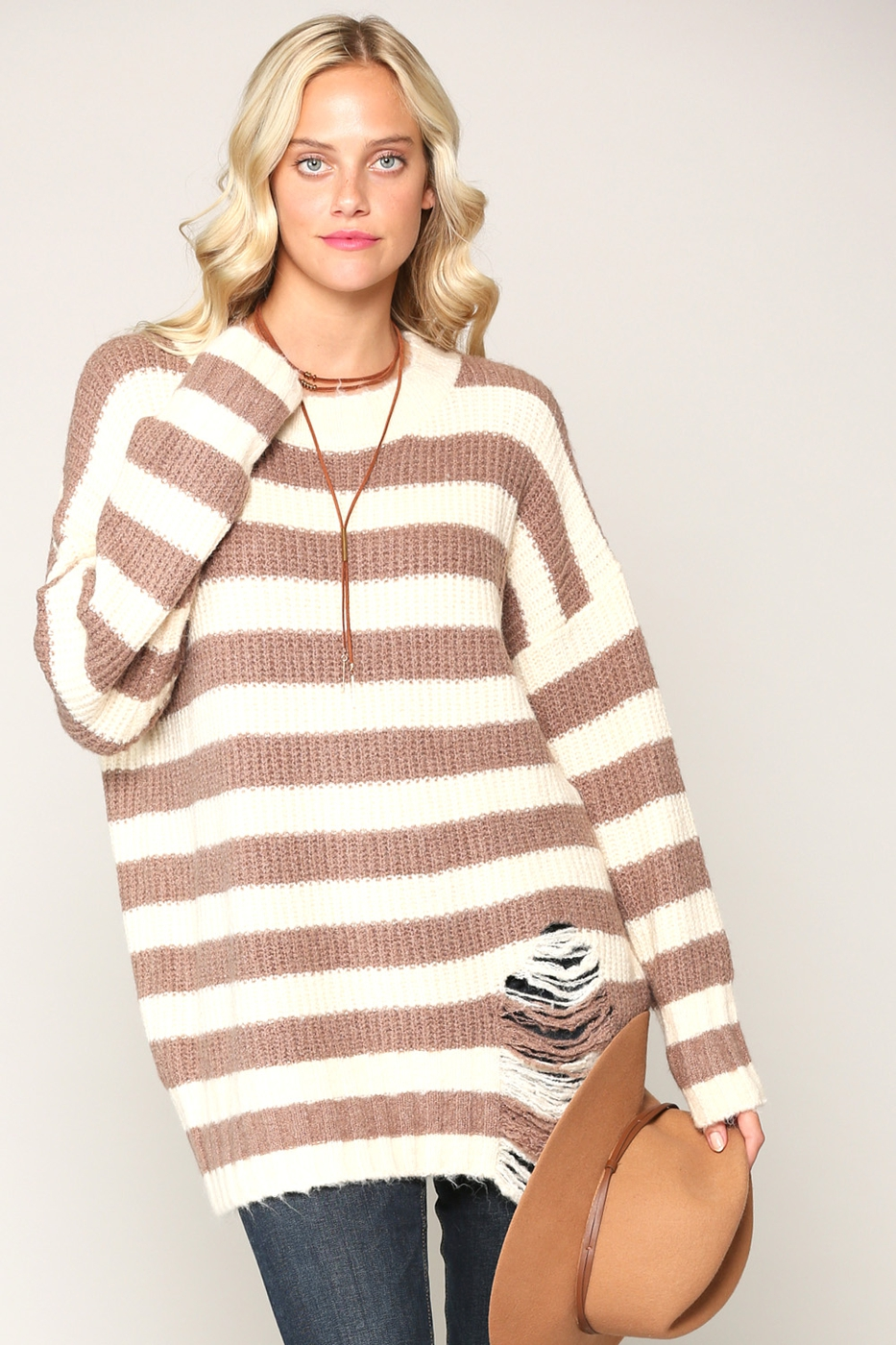 COZY STRIPE DISTRESSED SWEATER - orangeshine.com