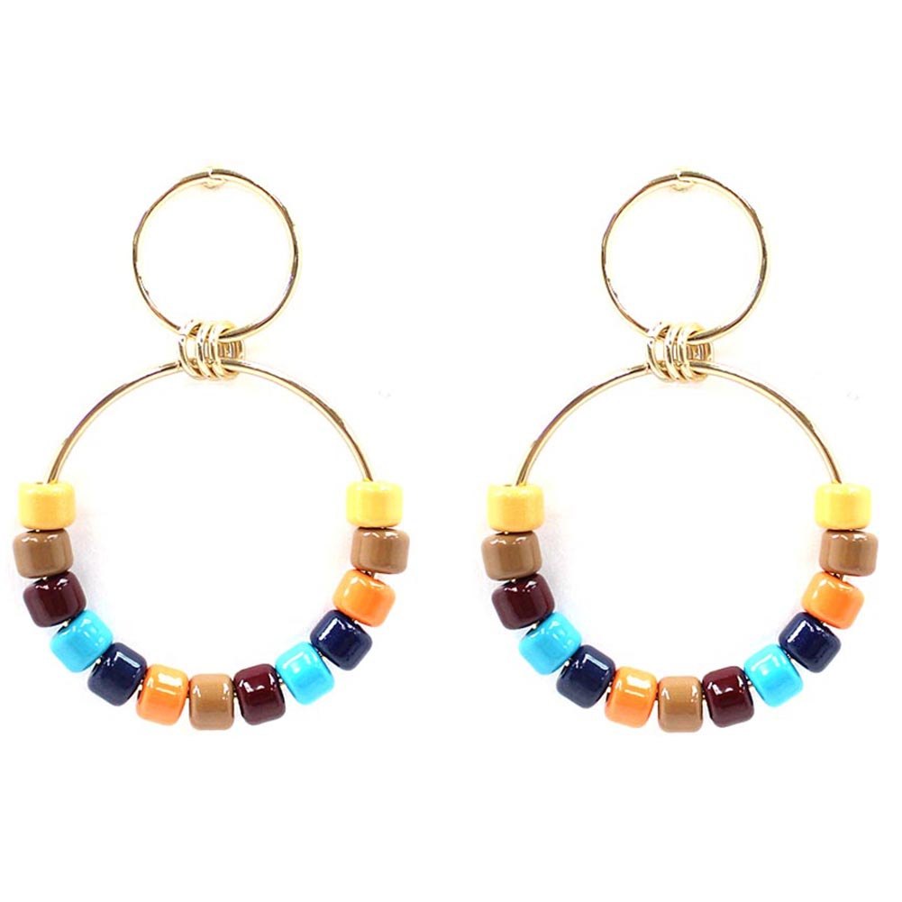 ACRYLIC BEAD ROUND DROP POST EARRING - orangeshine.com