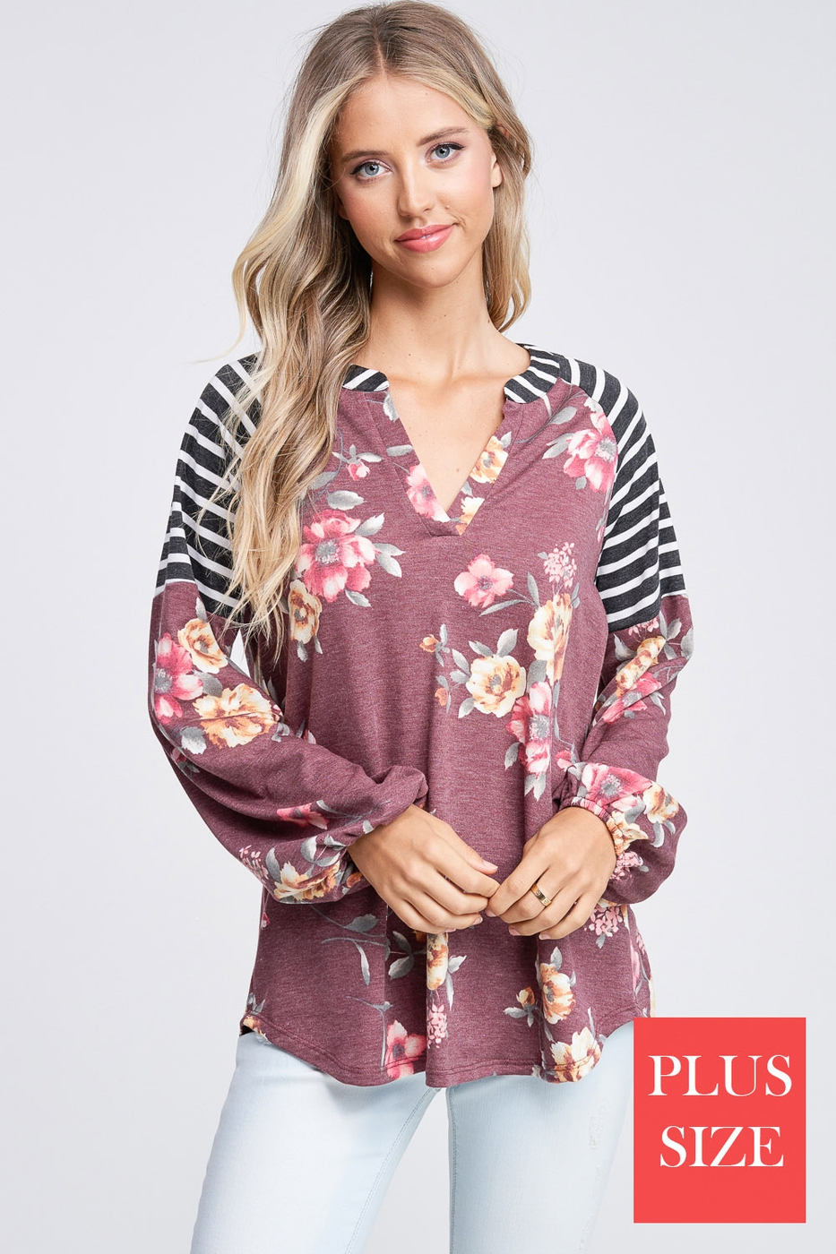 Floral and Stripe Long Sleeve Knit T - orangeshine.com