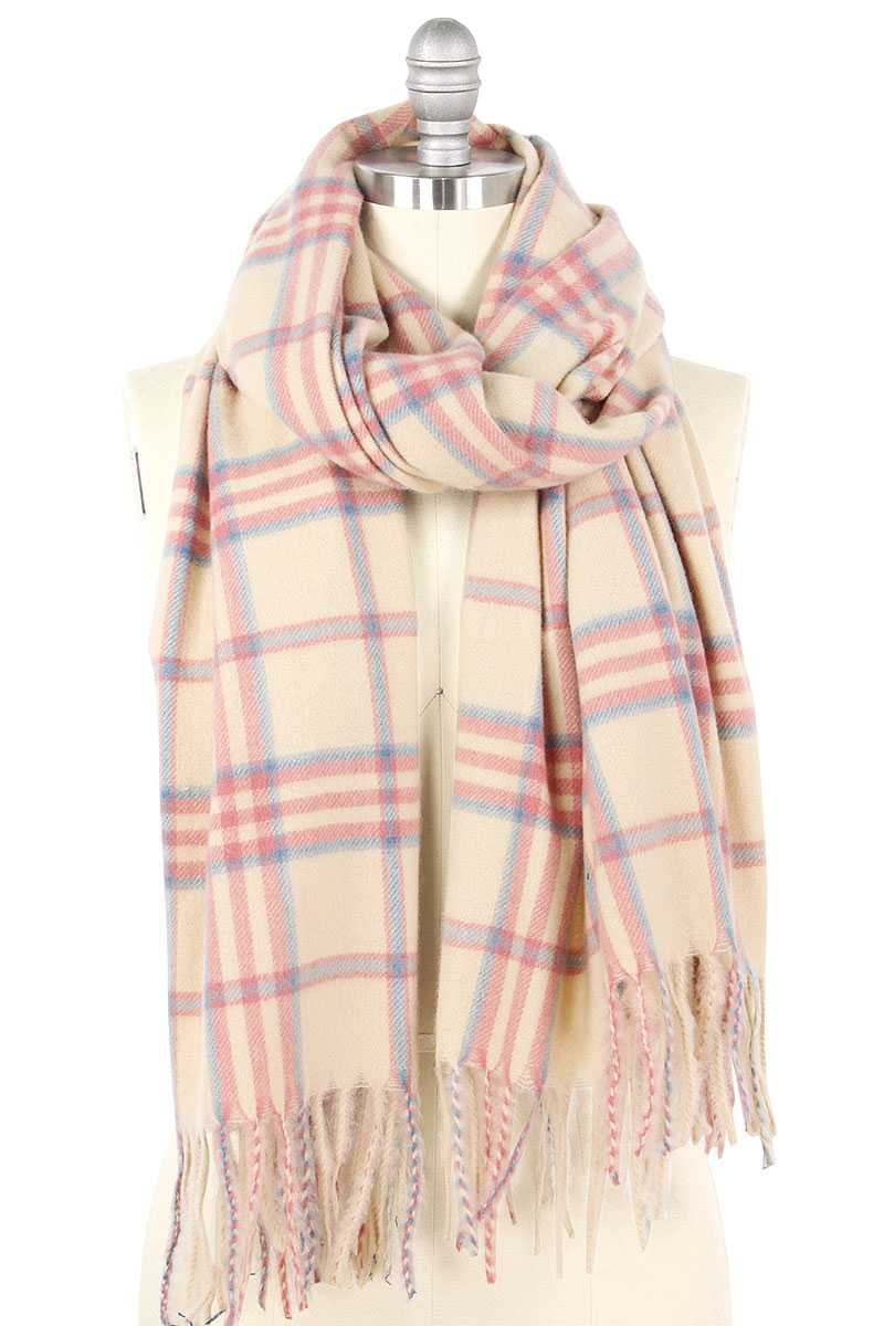 SOFT COZY PLAID OBLONG SCARF - orangeshine.com