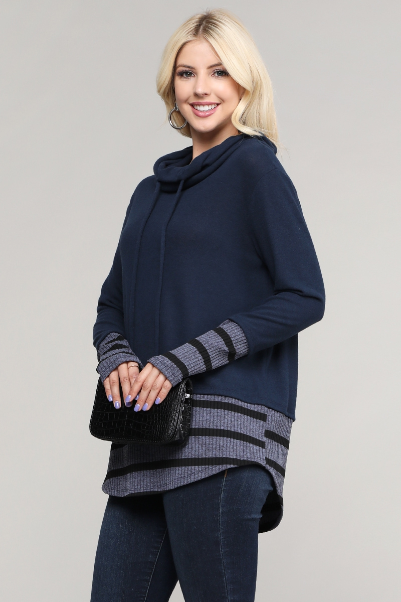 Solid Knit Long Sleeve Pullover Top - orangeshine.com