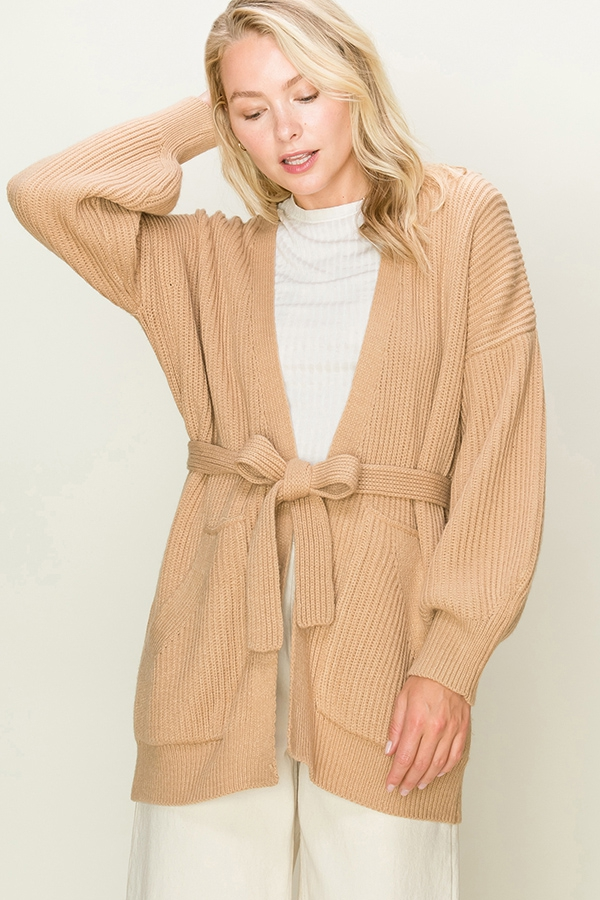 BALLOON SLEEVE OPEN CARDIGAN - orangeshine.com