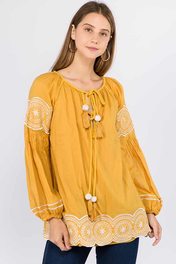 LONG SLEEVE EMBROIDERY TOPS WITH TAS - orangeshine.com