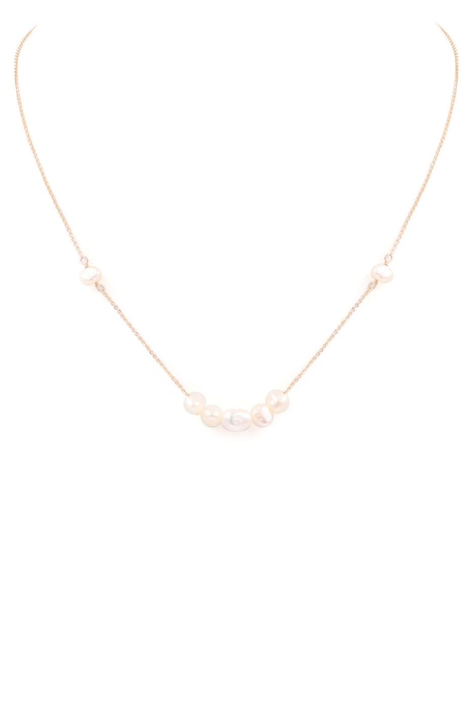 Cream Pearl Row Necklace - orangeshine.com