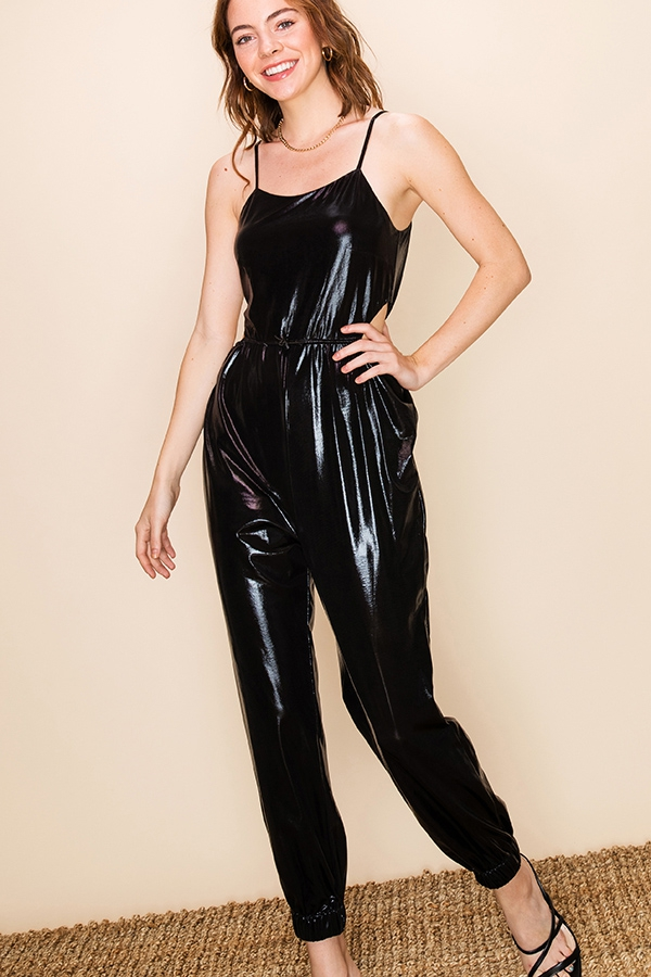 METALLIC JUMPSUIT WITH SIDE CUT OUT  - orangeshine.com