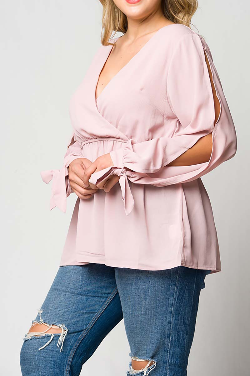 WRAP V-NECK ELASTIC WAIST TOP - orangeshine.com