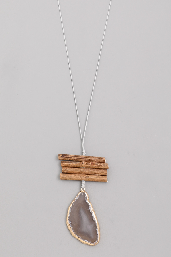 Stacked Wood Stone Pendant Necklace - orangeshine.com