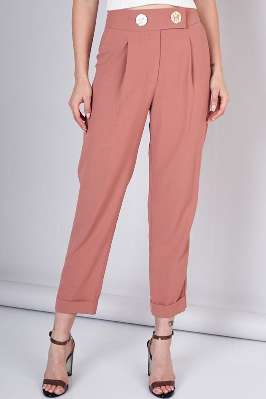 BUTTON HIGH-WAIST PANTS - orangeshine.com